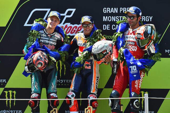 Triplete español en el podio de MotoGP de Catalunya 2019