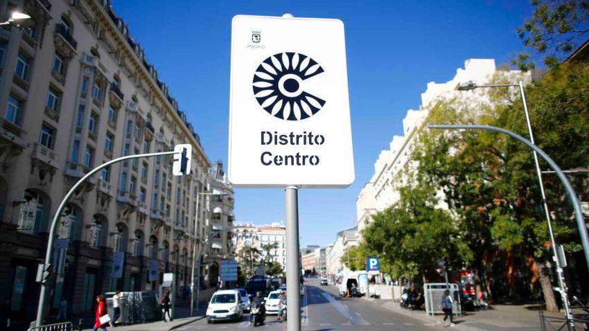 señal identificativa de Madrid Distrito Centro en las calles de Madrid