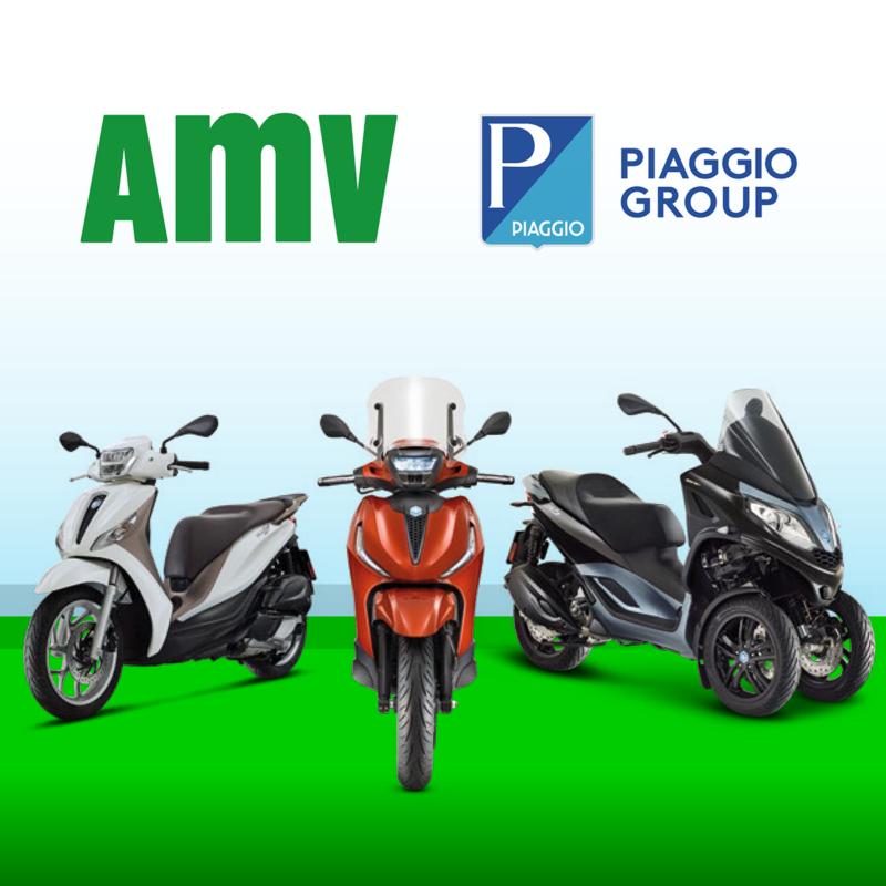logos de amv y piaggio y motos piaggio