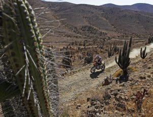 moto de campo yendo por un camino de tierra a