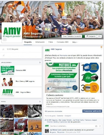 Perfil de Facebook de AMV Seguros.