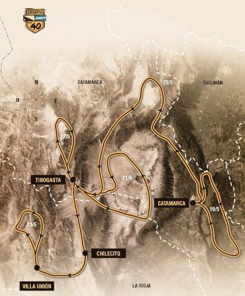 Mapa del Desafío Ruta 40, provincias de Catamarca y La Rioja, en Argentina