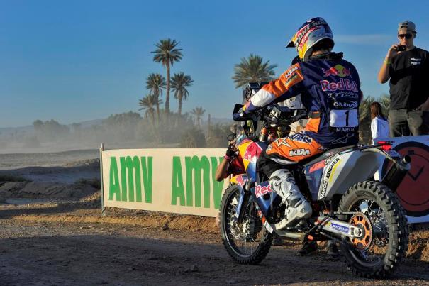 Imagen de Marc Coma, en su moto, durante el Rally de Marruecos 2013.