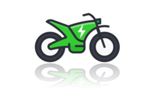 dibujo de una moto eléctrica de color verde.