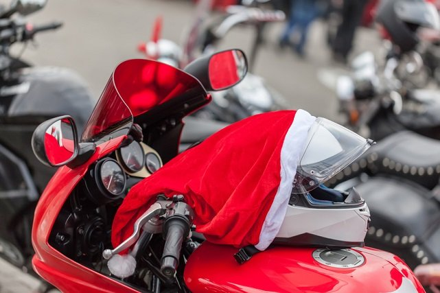 Helmet on a motorcycle of Santa Claus