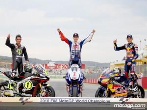 Triplete español en el Mundial de Motos 2010