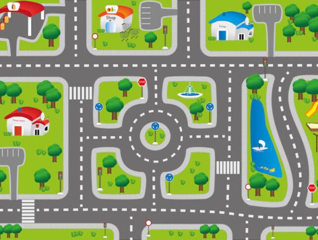 ilustración de las calles de una ciudad con sus señales de tráfico