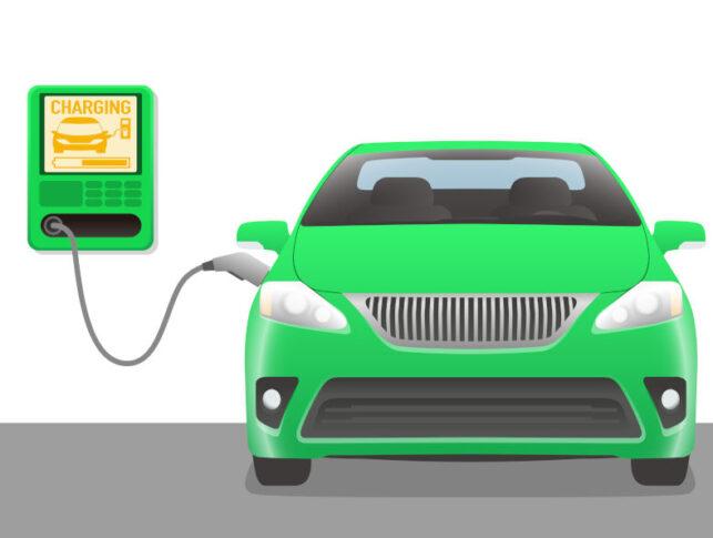wallbox n pared de garaje cargando un coche eléctrico